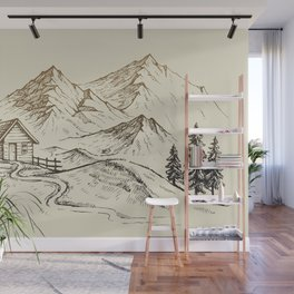 Vector of Mountain Landscape Wall Mural
