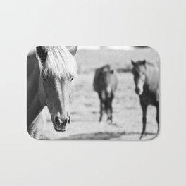 B&W horses Bath Mat