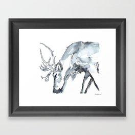 Watercolor Reindeer Sketch Framed Art Print