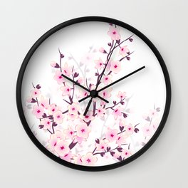 Cherry Blossom Pink White Wall Clock
