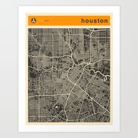 houston Art Prints featuring HOUSTON MAP by Jazzberry Blue