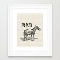 ass Framed Art Prints featuring Bad Ass by Jacqueline Maldonado