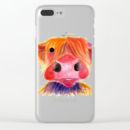 Scottish Highland Cow ' HeRbiE ' by Shirley MacArthur Clear iPhone Case