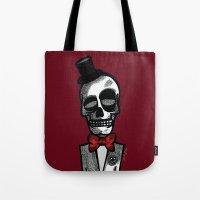 gentleman Tote Bags featuring Gentleman by Skullmuffins