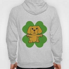 Dog On Four Leaf Clover- St. Patricks Day Funny Hoody