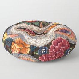 White Snake in the Autumn Garden Floor Pillow