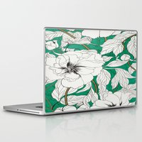peonies Laptop & iPad Skins featuring green peonies by Marcella Wylie
