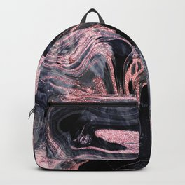 Stylish rose gold abstract marbleized design Backpack