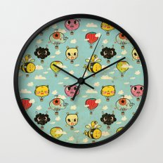 Happy Flight / The Animals Hot Air Balloon Voyagers / Patterns / Clouds Wall Clock