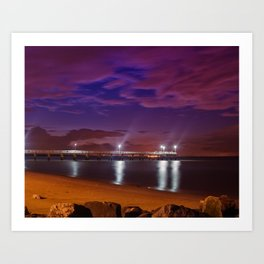 The Pier at Woodland Beach Coastal Landscape Night Photo Art Print