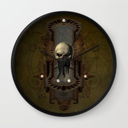 Amazing skull with wings Wall Clock