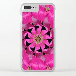 Pink Hydrangea Kaleidoscope Clear iPhone Case