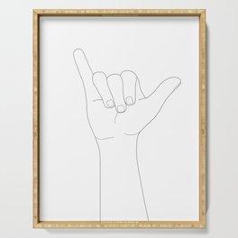 Minimal Line Art Shaka Hand Gesture Serving Tray