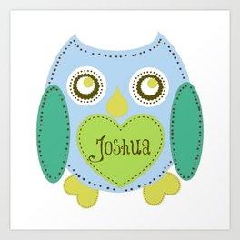 Lovely Owl - blue- Personalized Joshua  Art Print