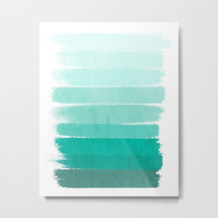 Ombre - Brushstroke Green/Blue Ocean Ombre, girly trend, dorm decor, cell phone, beach, summer,  Metal Print