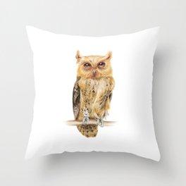Animals   Owl Watercolour Print   Philippine Scops Owl   Painting Throw Pillow