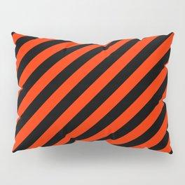 Bright Red and Black Diagonal RTL Stripes Pillow Sham