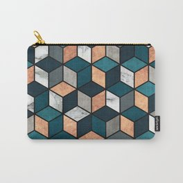 Copper, Marble and Concrete Cubes with Blue Carry-All Pouch
