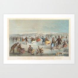 Skating in Central Park, New York Art Print