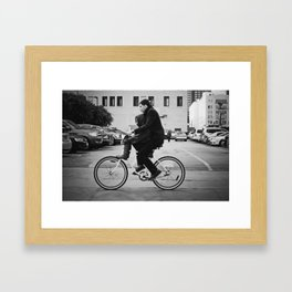 Brothers biking  Framed Art Print