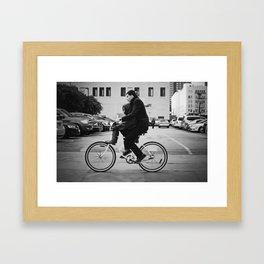 Brothers biking  Framed Art Print