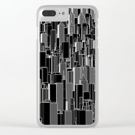 Tall city B&W inverted / Lineart city pattern Clear iPhone Case