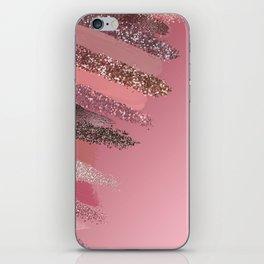 Artsy Pink Purple Glitter Painted Brushstrokes iPhone Skin