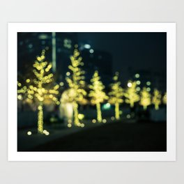 Gold Bokeh Trees Art Print