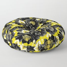 Mount Cook Lily - Yellow/Black Floor Pillow