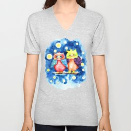 Two owls and a starry night Unisex V-Neck