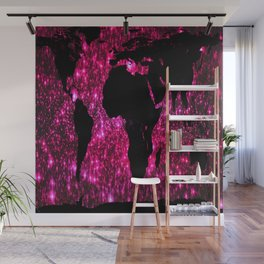 Pink Sparkle World Map Wall Mural