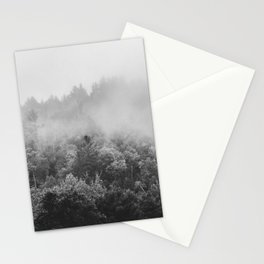 Landscape Photography | Forest Fog | Black and White Art | Minimalism Stationery Cards