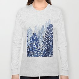 A snowy pine forest watercolor  Long Sleeve T-shirt