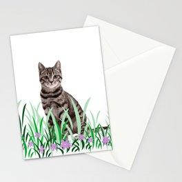 Tiger Cat green Grass with flower Stationery Cards