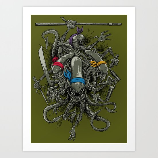 Ancient Ninja Xenomorphs Art Print