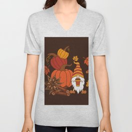 Pumpkins, star anise, cinnamon sticks, autumn leaves and gnome with a cup of pumpkin spice drink. Holiday card. Vintage fall design.  Unisex V-Neck