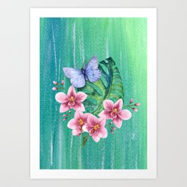 Butterfly with Orchids and Monstera Art Print