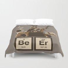 Funny chemistry bear discovered beer Duvet Cover