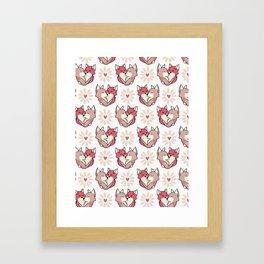 Vector cute fox hug hearts. Seamless repeat pattern Framed Art Print