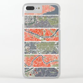 Six cities: NYC London Paris Berlin Rome Seville Clear iPhone Case