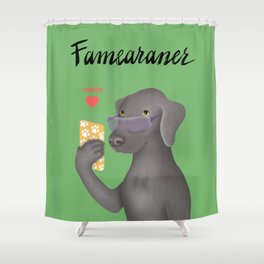 Famearaner (Green Background) Shower Curtain