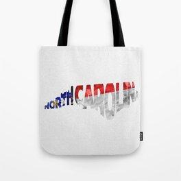 North Carolina Typographic Flag Map Art Tote Bag