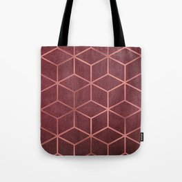 Pink and Rose Gold - Geometric Textured Gradient Cube Design Tote Bag