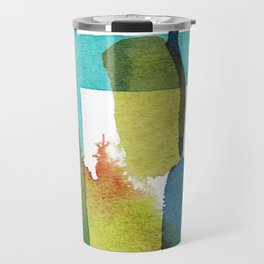 Blue and Yellow and Green Abstract Art Travel Mug