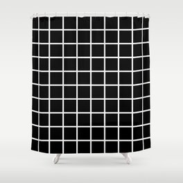 Black Grid Pattern 2 Shower Curtain