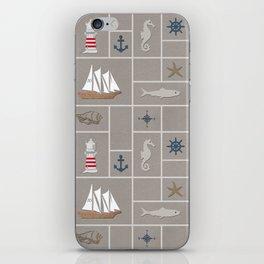 Nautical symbols on sandy background iPhone Skin