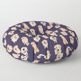 Golden Retrievers on Navy Floor Pillow