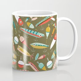 Fishing Lures Green Coffee Mug