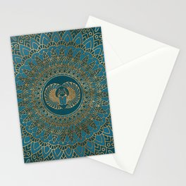 Egyptian Scarab Beetle Gold on Teal Leather Stationery Cards