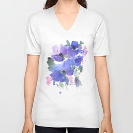 Blue Poppies and Wildflowers Unisex V-Neck
